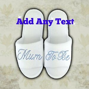 Image Is Loading Personalised Slippers Diamantes Wedding Spa Guest Shoes Towelling
