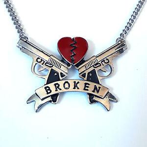 Gothic-Horror-Punk-Goth-Metal-Broken-Heart-Pistol-Guns-Pendant-Choker-Necklace