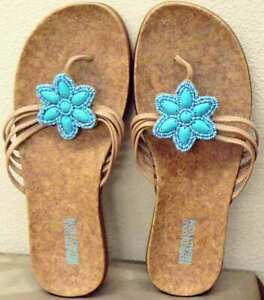 e6e458d741a9 Kenneth Cole Reaction Glam In Bloom 7M Sandals Flip Flops Turquoise ...