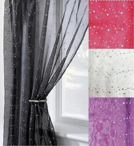Image Is Loading DISCO GLITTER VOILE CURTAIN PANEL SLOT TOP HEADER