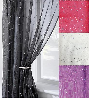 Disco Glitter Voile Curtain Panel Slot, Sparkle Curtain Panels