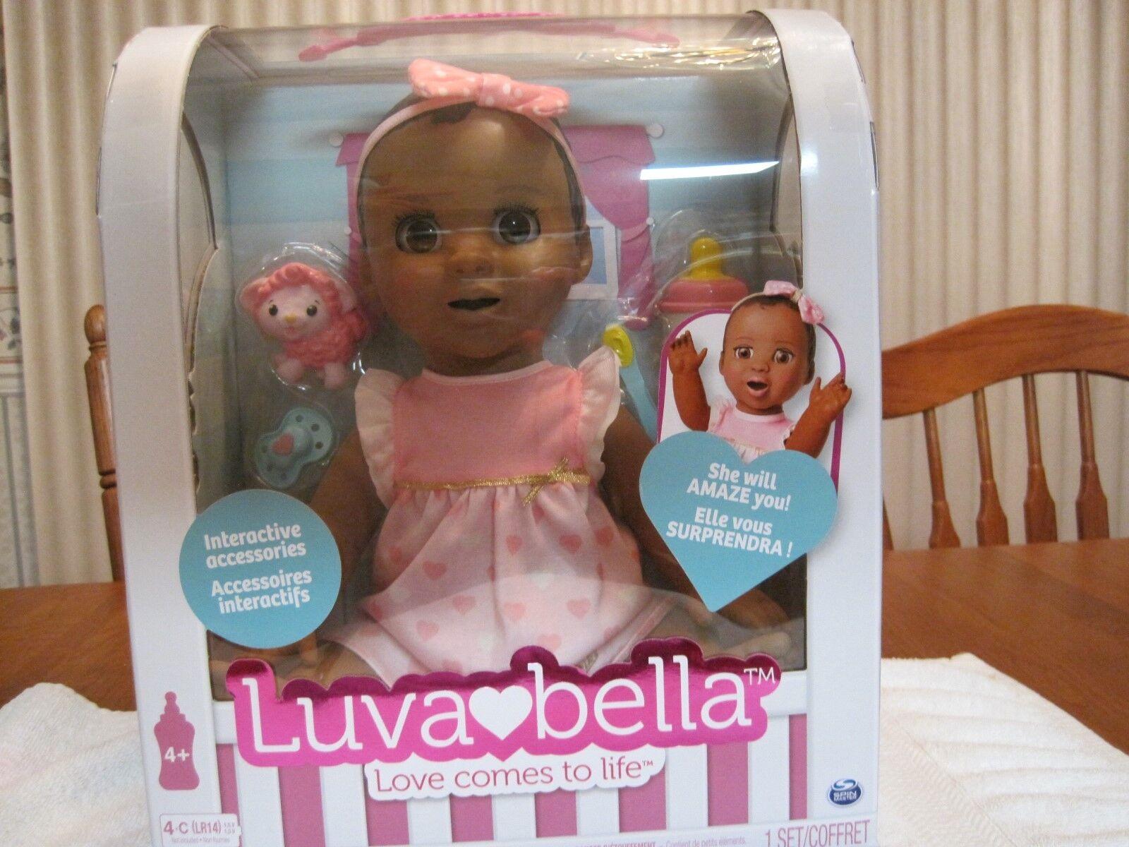 Luvabella Interactivo Sensible African American Baby Girl Doll -- Nuevo