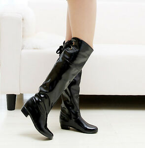 Womens-Patent-leather-Low-Heels-Knee-High-Boots-Shoes-UK-Plus-Size-1-5-12-A36