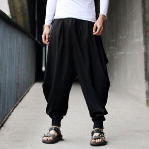 Men-039-s-Retro-Capri-Pants-Casual-Rock-Hakama-Baggy-Harem-Long-Trousers