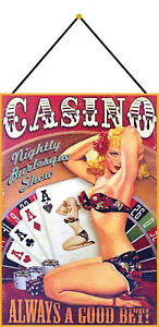 Casino-Pin-up-Girl-Tin-Sign-Shield-with-Cord-Tin-Sign-7-7-8x11-13-16in-FA0349-K