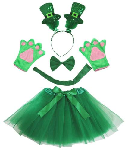 Party Adult Women St.Patrick/'s Day Sequin Headband Paw Tail Bow Skirt Costume 5p