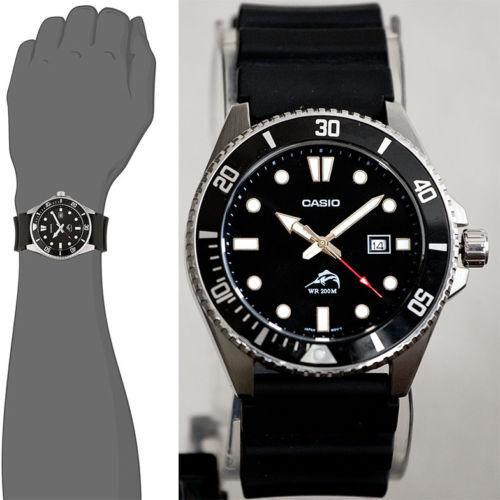 654e944b0882 Casio MDV106-1AV 44mm Caja Acero Inoxidable Correa Resina Negra Reloj para  Hombre