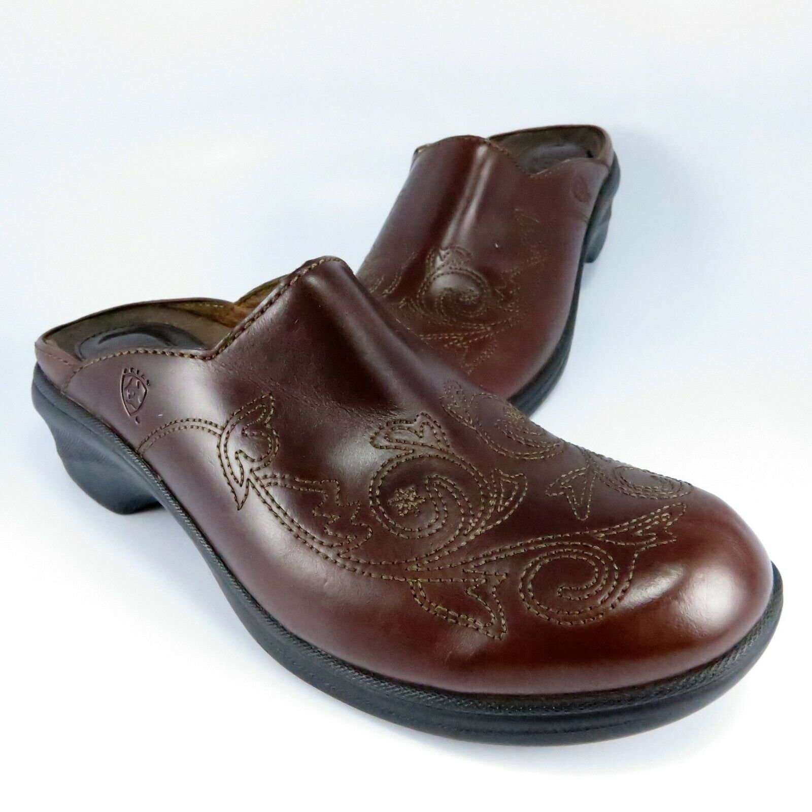 Ariat SAVANNAH Embroidered Mules-Clogs Womens Size 8B Burgundy Leather Slides
