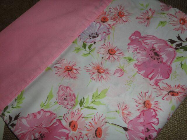 VINTAGE SPRINGMAID WONDERCALE PINK SILK FLOWERS TWIN FLAT SHEET MADE U.S.A.