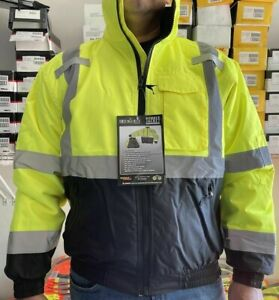 Radians  Yellow Class 3 Reflective Safety Bomber Jacket with Quilted Liner