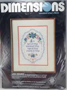 Dimensions-Love-Endures-Elaine-Cusatis-Counted-Cross-Stitch-Kit-9x12-034-Bears-All