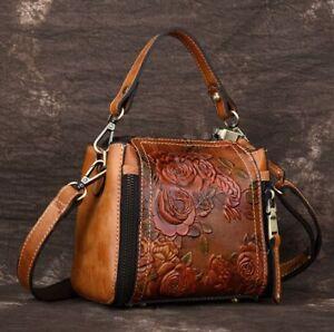 01c6e8c412 New Vintage Women Genuine Cow Leather Shoulder Bag Embossed Handbag ...