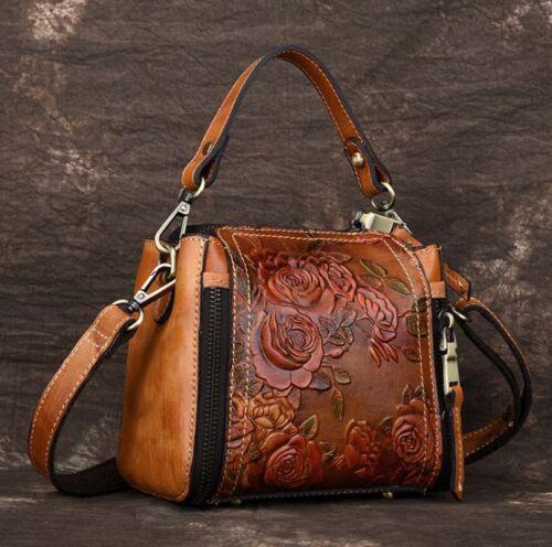 Brown Vintage Women Genuine Cow Leather Shoulder Bag Embossed Handbag Purse XS