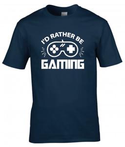 I'd Rather be Gaming Kids Boys Girls Gamer T-Shirt  Funny Gaming Tee Top