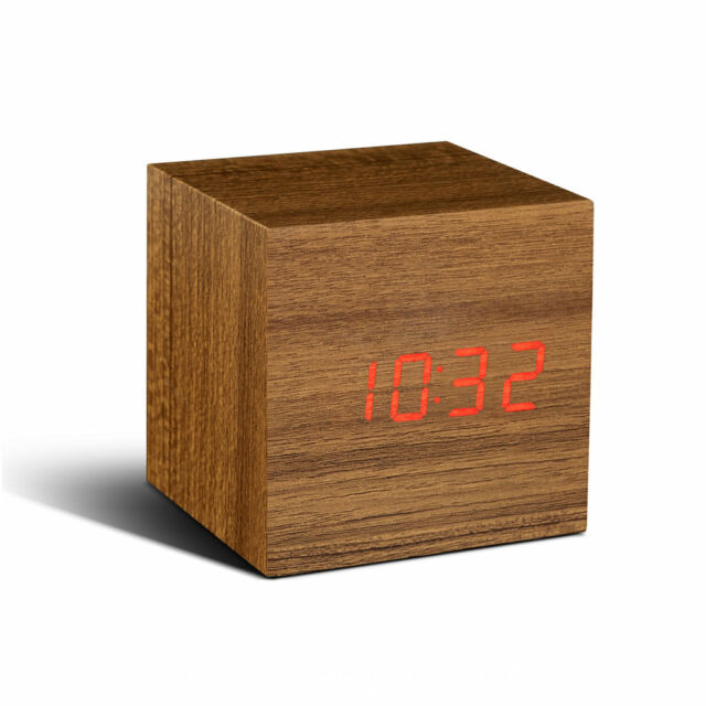 GINGKO CUBE Design Uhr SoundSensor NEU/OVP Alarm Wecker Click Clock Teak Rot