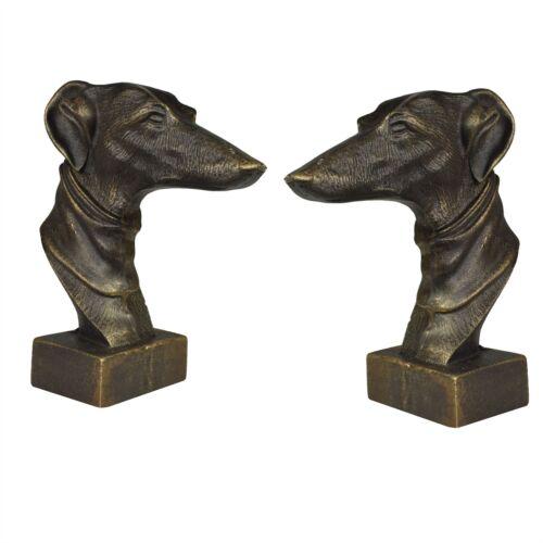 Windhund Whippet Hund Büste Kopf Statue Ornament Buch Ende Gusseisen Paar