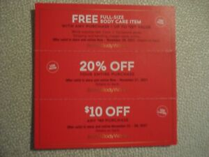 BATH & BODY COUPONS  FULL SIZE BODY CARE, 20% OFF, $10 OFF