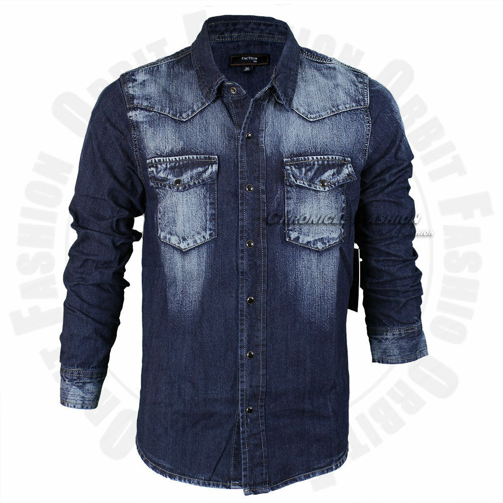 1de9933365f Details about Mens Button Down Casual Denim Shirts Wash Slim Fit Long  Sleeve Casual Tops S-2XL