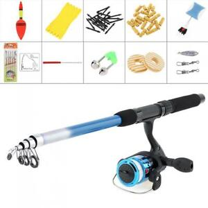 1.8m Telescopic Fishing Rod Spinning Pole Reel Combo Full Kit With Line Float