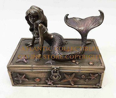 Pretty Mermaid on Treasure Chest Jewelry Trinket Box Figurine GIFT decor