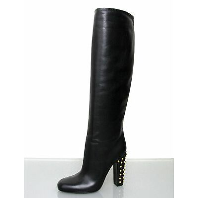 $1450 New Authentic GUCCI JACQUELYNE Studded Tall Boots SHOES Black 297199 1000