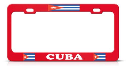 CUBAN FLAG CUBA RED Metal Steel License Plate Frame Tag Border