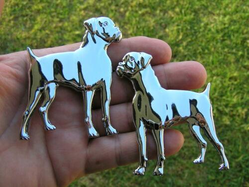 UK ~ BOXER DOG PAIR BADGES Chrome Car Emblems *NEW /& UNIQUE* High Quality