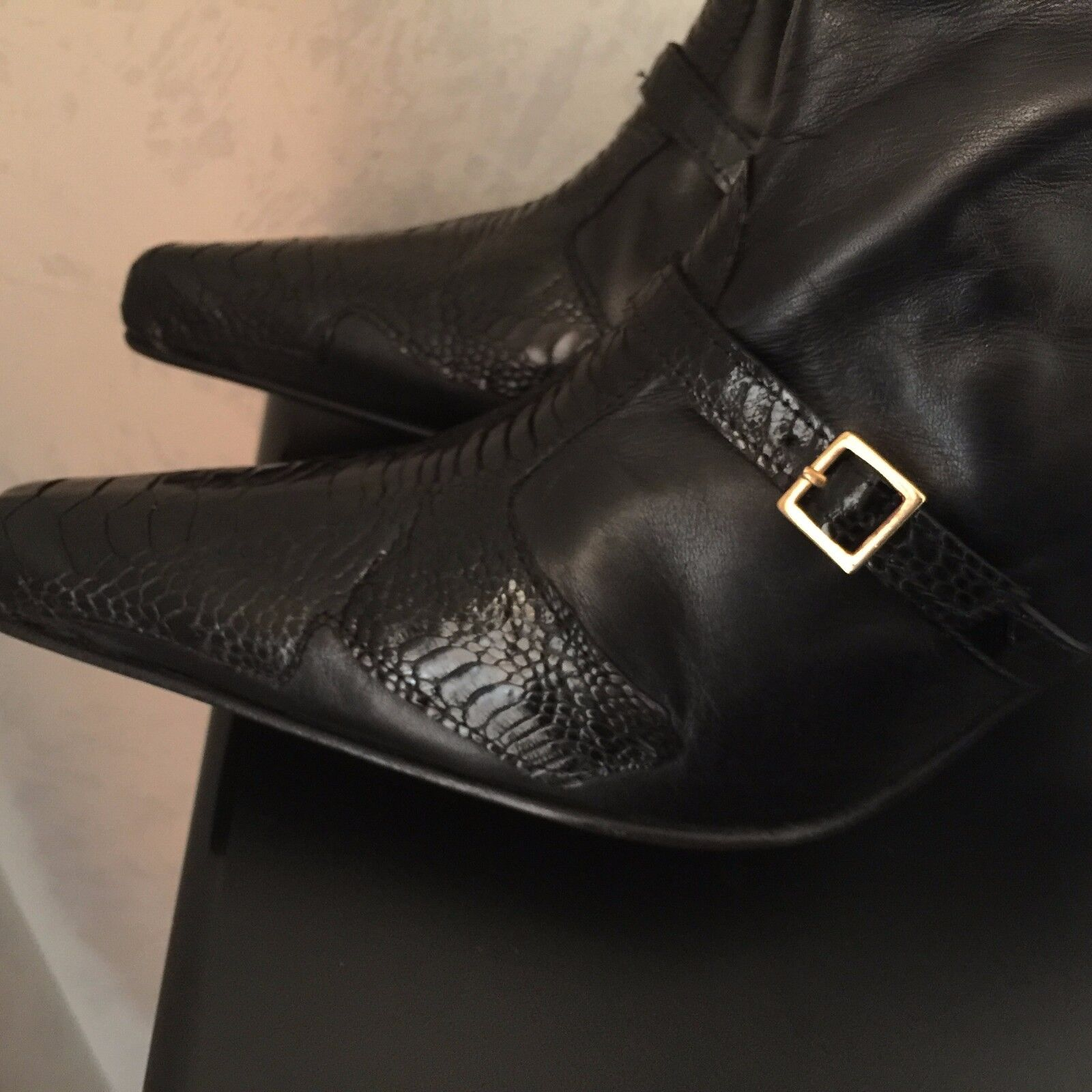 AUT GF/GIANFRANCO FERRE BLACK 39/9 LEATHER/ALIGATOR COMB KNEE HIGH Stiefel 39/9 BLACK NWT e4fb63