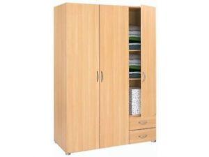 kleiderschrank leader 3 t rig mit schubk sten buche ebay. Black Bedroom Furniture Sets. Home Design Ideas