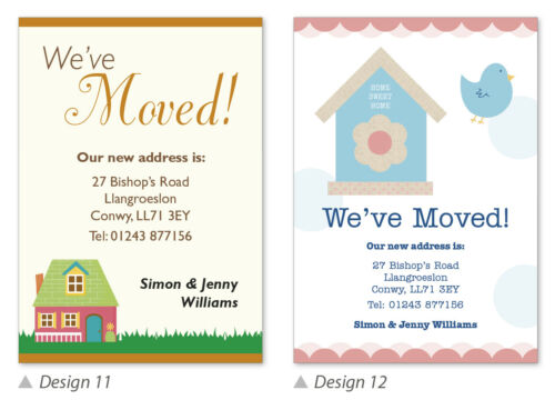 Moving House Cards WITH Envelopes 16x Personalised Change of Address