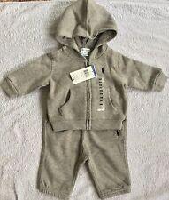 New Baby Boys Ralph Lauren Cotton Fleece Hoodie&Pant Set-Size: 9M