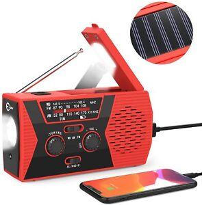 2000mAh Emergency LED Radio Solar Hand Crank AM/FM/NOAA Flashlight Phone Charger