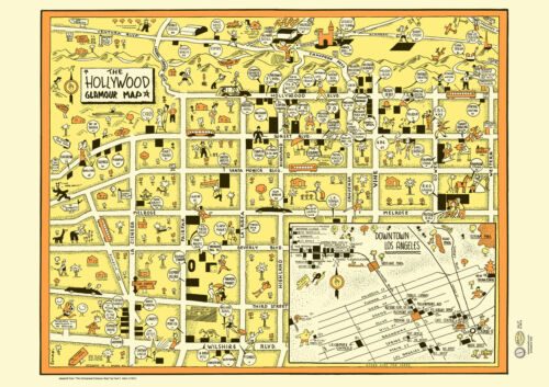 Hollywood 1940s California LA Dwntwn Map Poster Vintage Brown Derby Sunset Blvd