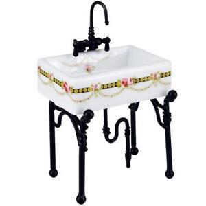 Dollhouse Small Victorian Rose Kitchen Sink Reutter 1 740 3