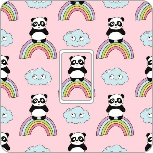 Panda rainbow UK Light Switch Vinyl Sticker Skin nursery bedroom Ls35