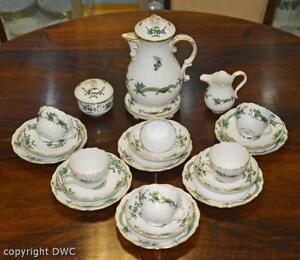 Kaffee-Tee-Service-16-tlg-Meissen-Dekor-gruener-Drache-Porzellan-Tasse-Kanne
