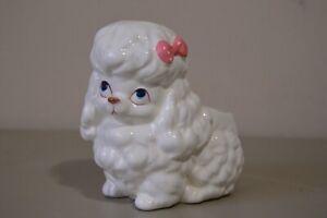 Rubens-Original-VIntage-Planter-Toy-Poodle-Taiwan-Dog-Pink-Bow-White-EUC