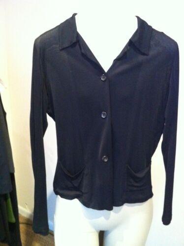 Jil Sander black rayon jersey cardigan