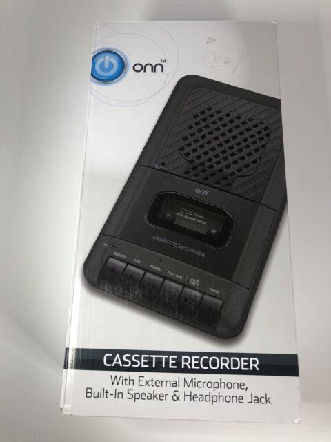 ONN Cassette Recorder With External Microphone & Blank Cassette Tape NEW