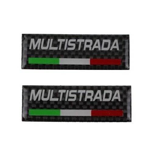 Multistrada Carbon Fiber Style Handle Bar Emblem Decal Sticker Pair For Ducati