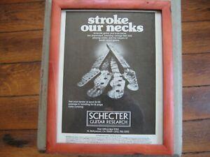 Vintage Framed Schecter Guitar Research Advertisement SGR