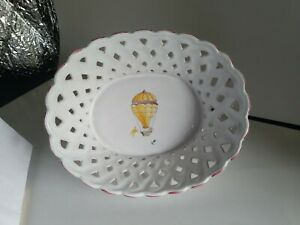 Details about Atelier da Segries Moustiers Ind  French Porcelain Bread  Basket Hot Air Balloon