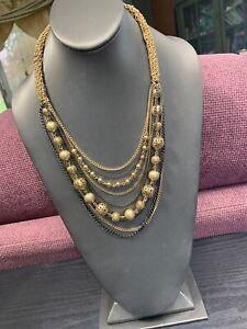 Vintage-Designer-Multi-9-Strand-Chain-Waterfall-Long-Bib-Statement-Necklace