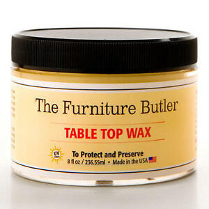 Metal And Wood Table Top Wax. Stock Photo