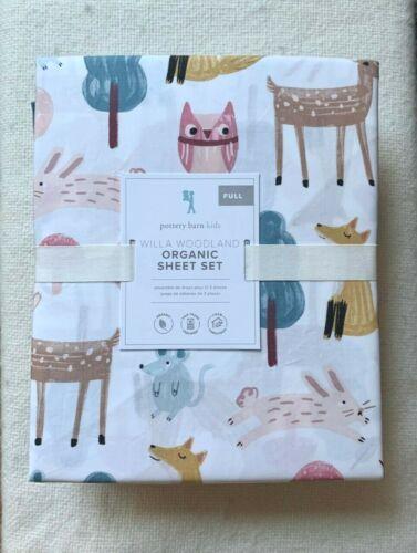 Pottery barn kids Organic Willa Woodland Full sheet set Blush Owl Deer Squillow