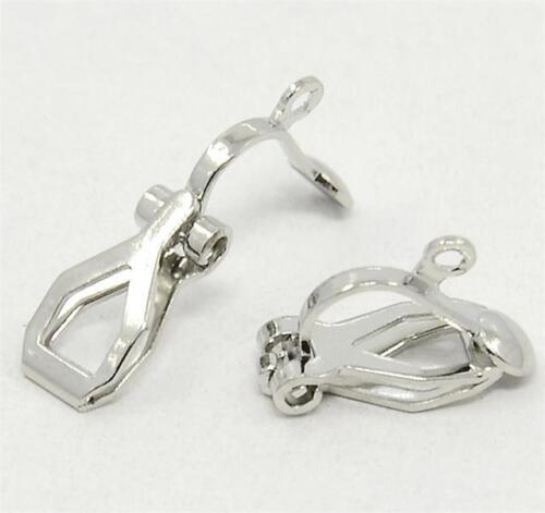 20 CLIP ON JEWELLERY EARRINGS WITH LOOPS 13mm SILVER PLATED