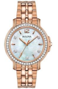 Bulova Women's Quartz Swarovski Crystal Accents Rose Gold 34mm Watch 98L243