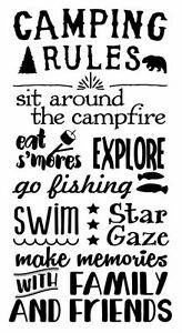 Camping Rules Subway Art Wall Decals Sticker Camper RV Camp Quote ...