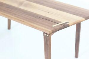 Minimalist Bohemian Boho Chic Solid Walnut Geometric Coffee Table Brass Inlay