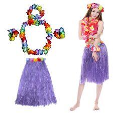 Hawaiian Lei Hula Grass Skirt & 4 Piece Flower Garlands Fancy Dress Set HW19